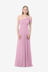 Melissa Bridesmaid Gown in orchid. Front View.