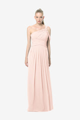 Melissa Bridesmaid Gown in rose-quartz. Front View.