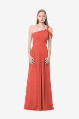 Melissa Bridesmaid Gown in coral. Front View.