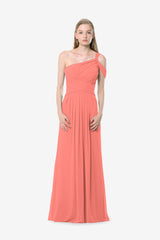 Melissa Bridesmaid Gown in tulip. Front View.