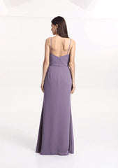 Rear view of Jasmine wedding party gown in wisteria purple.
