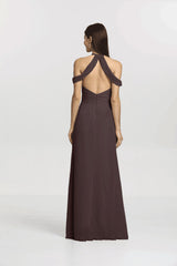 Back view Kelsey Bridesmaid gown in Mink by Gather and Gown Bridesmaids