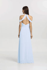 Back view Kelsey Bridesmaid gown in Light Blue by Gather and Gown Bridesmaids