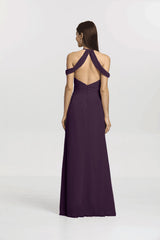 Back view Kelsey Bridesmaid gown in Eggplant by Gather and Gown Bridesmaids