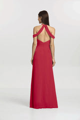 Back view Kelsey Bridesmaid gown in Ruby by Gather and Gown Bridesmaids