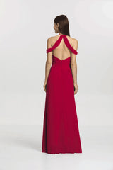 back view cranberry bridesmaid gown called Kelsey