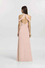 Back view Kelsey Bridesmaid gown in Blush pink by Gather and Gown Bridesmaids