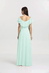 Back view Shelby Bridesmaid gown in sea glass by Gather and Gown Bridesmaids
