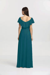 Back view Shelby Bridesmaid gown in Tealness by Gather and Gown Bridesmaids