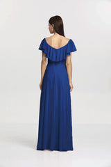 Back view Shelby Bridesmaid gown in Royal by Gather and Gown Bridesmaids