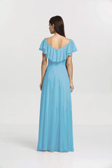 Back view. Shelby bridesmaid gown in turquoise