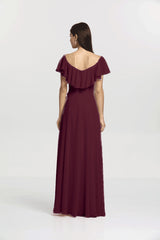 Shelby bridesmaid gown back view. Raspberry for bridesmaid or informal wedding gown