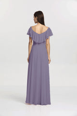 Back view Shelby Bridesmaid gown in Wisteria by Gather and Gown Bridesmaids