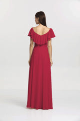 Back view Shelby Bridesmaid gown in Ruby by Gather and Gown Bridesmaids