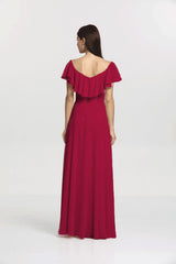 Back view Shelby Bridesmaid gown in cranberry by Gather and Gown Bridesmaids