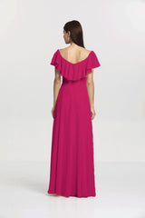 Back view Shelby Bridesmaid gown in Hot Pink by Gather and Gown Bridesmaids