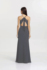 Back view Sydney Bridesmaid gown in Pewter by Gather and Gown Bridesmaids