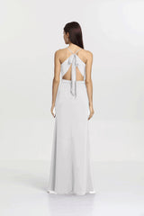 Sydney bridesmaid gown back view. White for bridesmaid or informal wedding gown