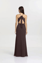 Back view Sydney Bridesmaid gown in Mink by Gather and Gown Bridesmaids