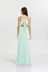 Back view Sydney Bridesmaid gown in sea glass by Gather and Gown Bridesmaids