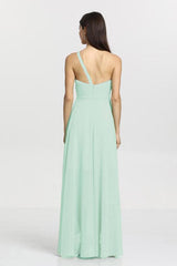Christina Bridesmaid Gown in sea glass. Back View.
