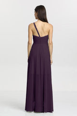 Christina Bridesmaid Gown in eggplant. Back View.