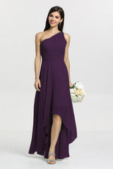 Christina Bridesmaid Gown in eggplant. Front View.