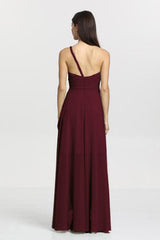 Christina Bridesmaid Gown in mahogany. Back View.