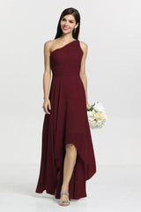 Christina Bridesmaid Gown in mahogany. Front View.