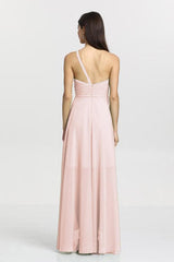 Christina Bridesmaid Gown in rose quartz. Back View.