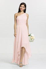 Christina Bridesmaid Gown in rose quartz. Front View.