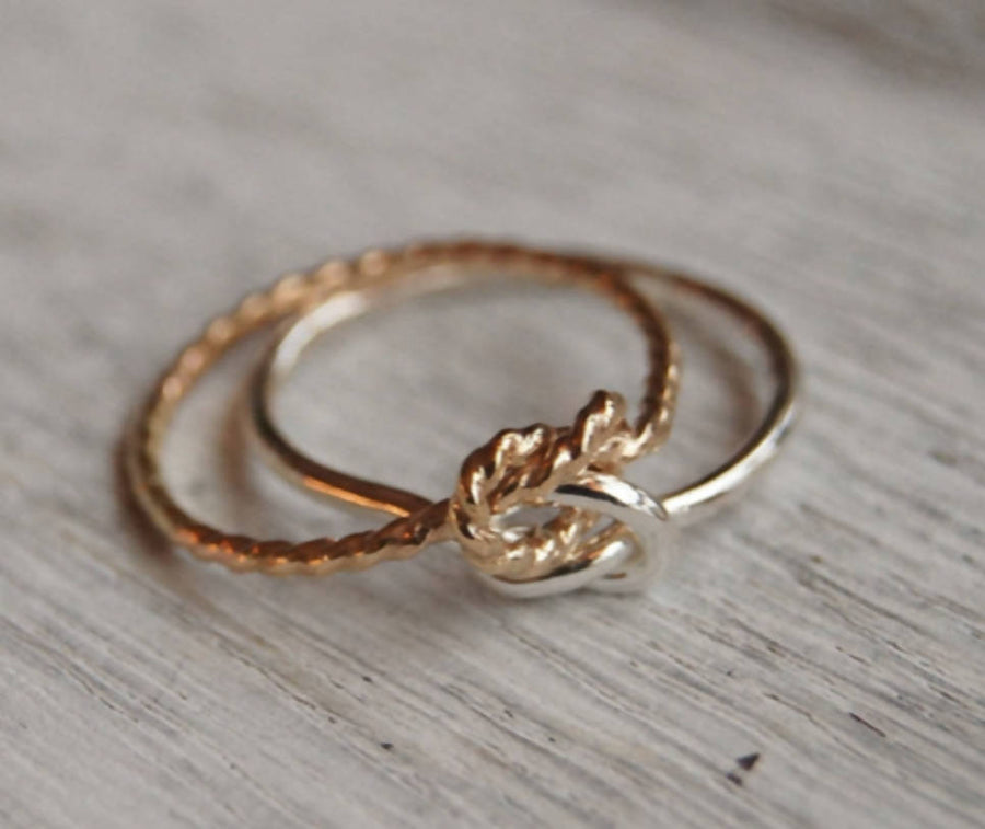 Mixed metal double knot ring