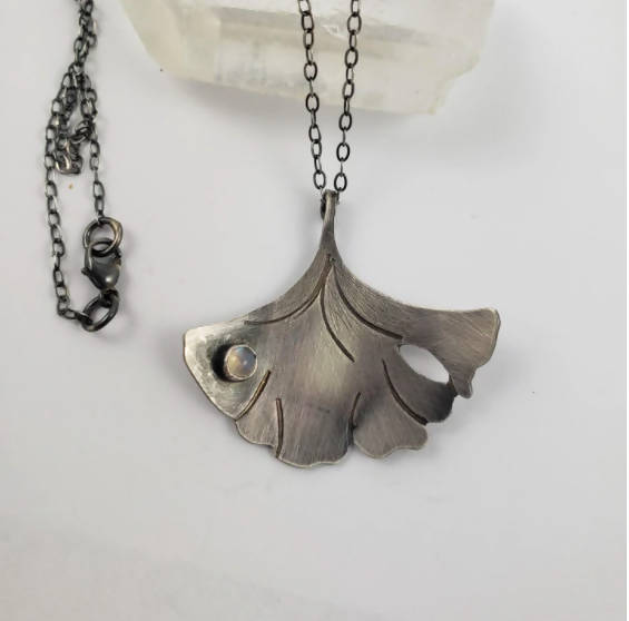 Dewdrop Moonstone Gingko Leaf Necklace