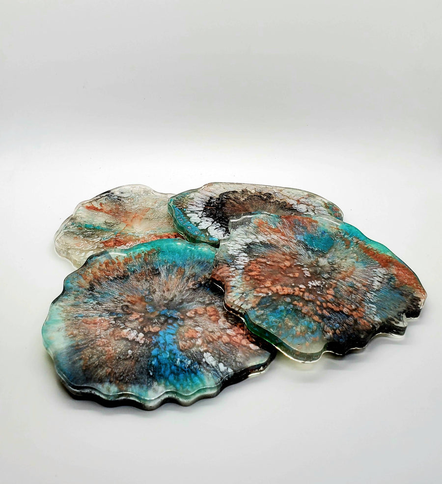Set of 4 Large Irregular Resin Coasters