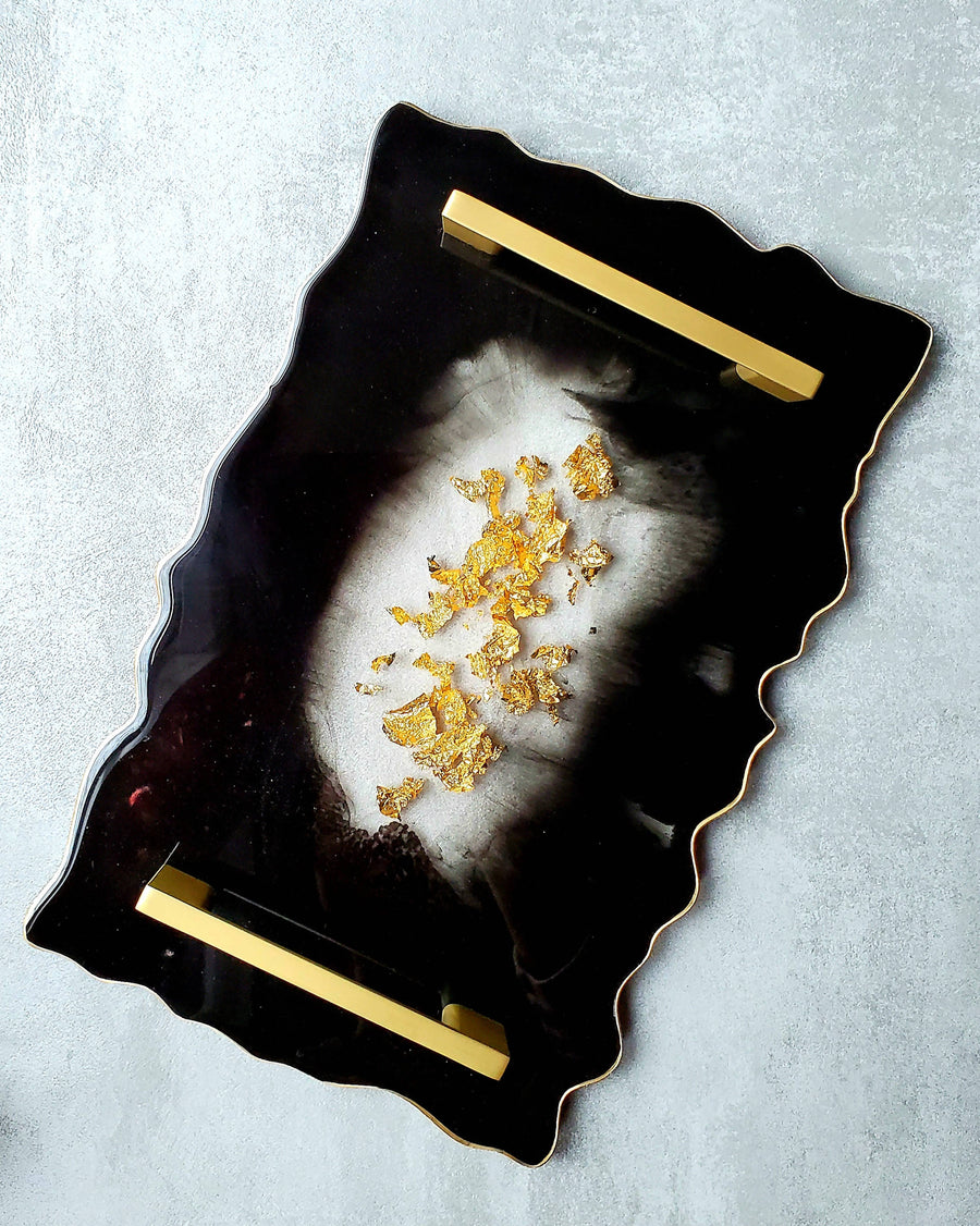 Decorative Serving Tray with Gold/Silver Edges and Gold/Silver Handles