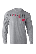 """Developed Here"" LongSleeve  Unisex Crewneck Tee/Heather Grey - SALE"