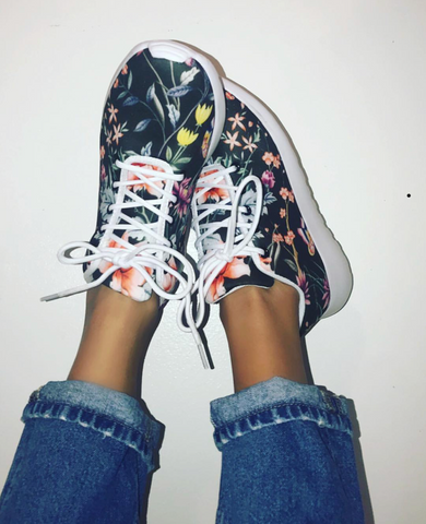 black chinoiserie floral printed athleisure sneakers