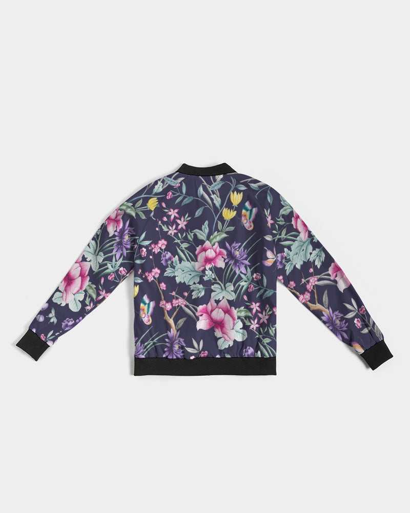 Unisex Bomber Jacket in blue chinoiserie