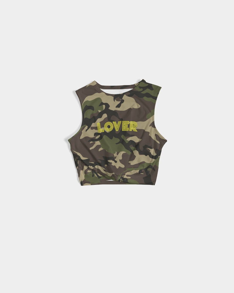 Camouflage print Twist-front Crop Tank Top with LOVER in gold font printed across the chest