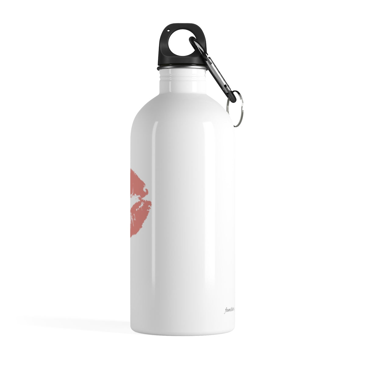 pink lipstick kiss graphic on white stainless steel water bottle