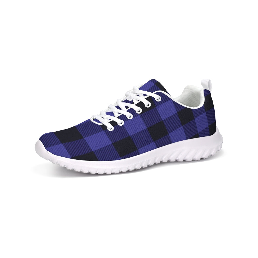 purple plaid print sneakers