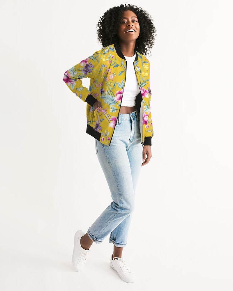 Unisex Bomber Jacket in yellow chinoiserie