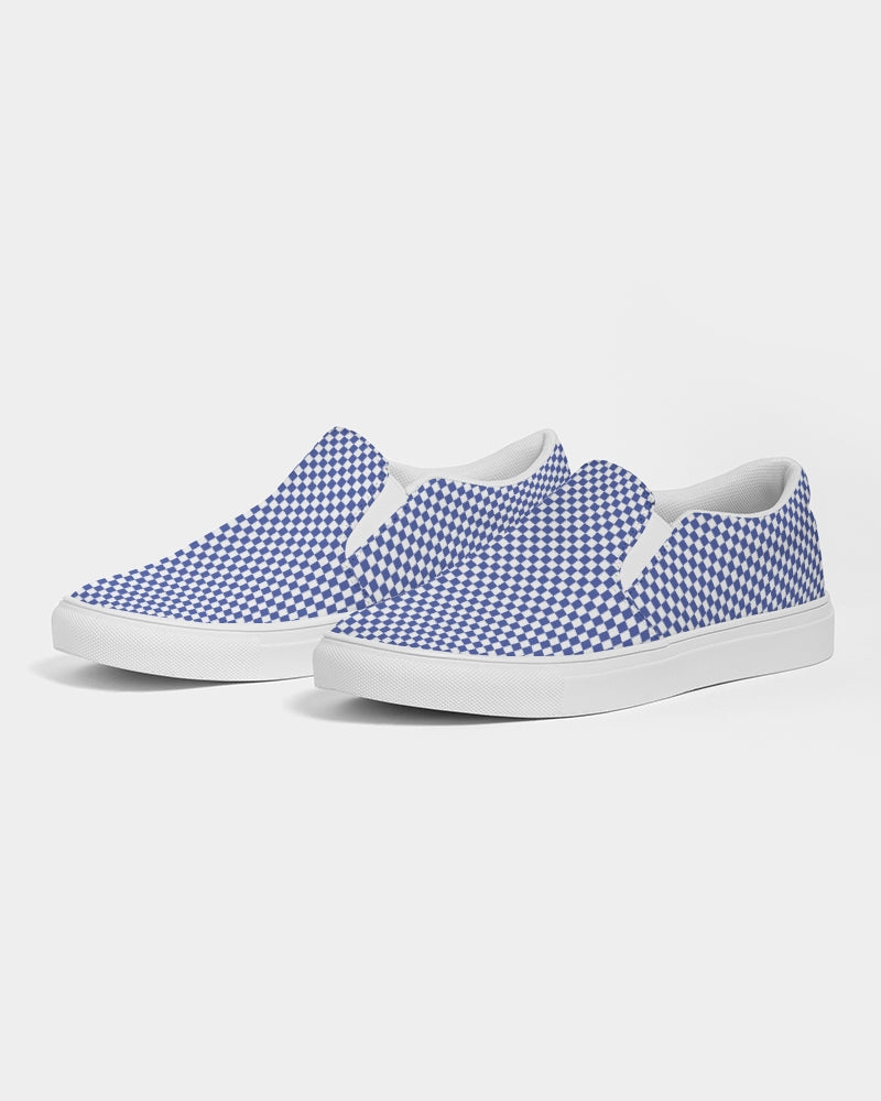 blue & white checkered graphic print canvas slip-on sneakers shoes