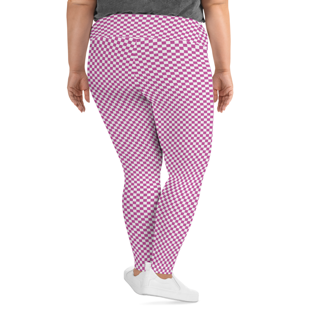 pink & white checkered graphic print plus size yoga pants leggings