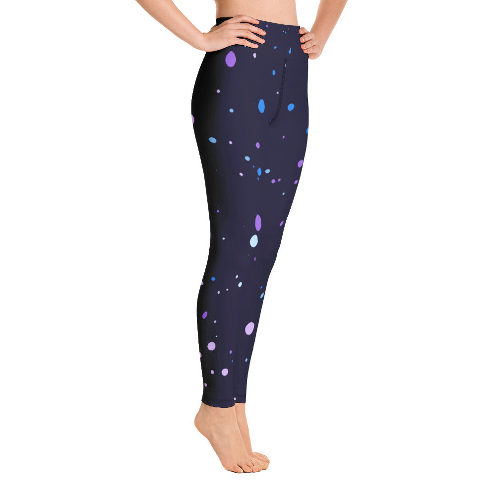 purple & blue ink splatter print  Yoga Pants Leggings