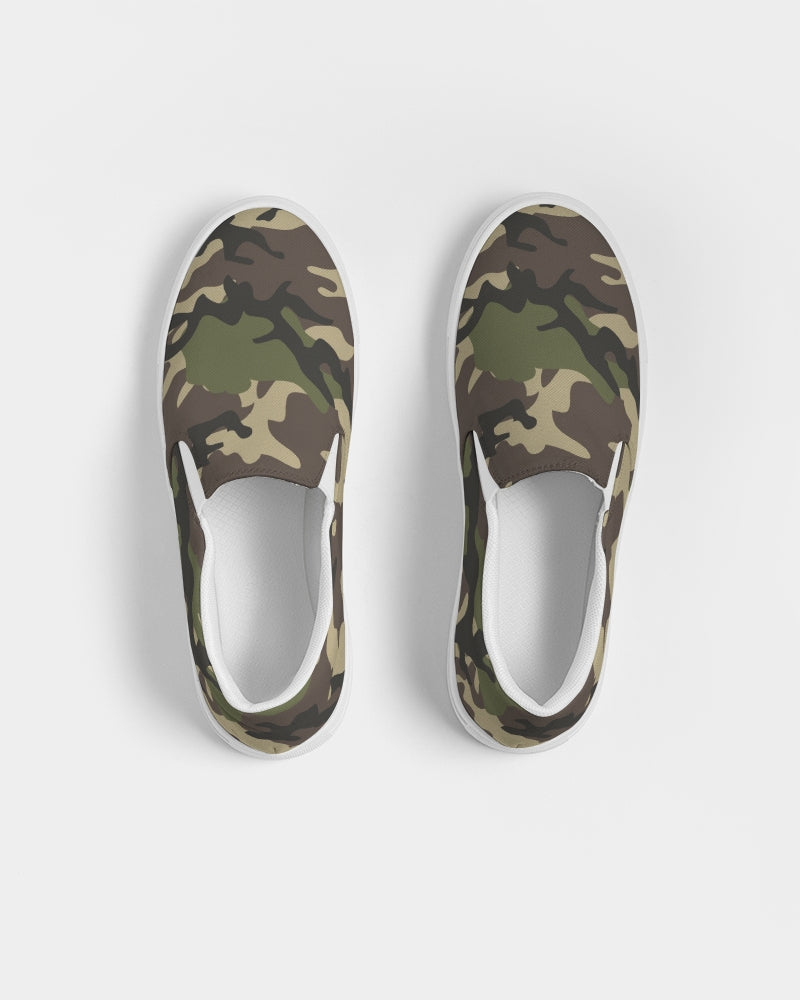 Women's Canvas Sneakers in green camo