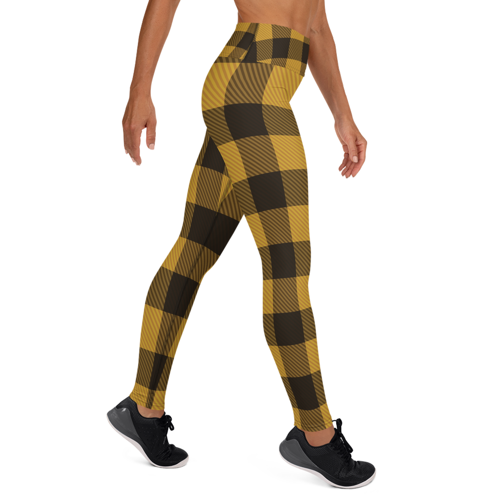 [yoga pants_high-waisted] - familiar...yet different yellow and black plaid print leggings