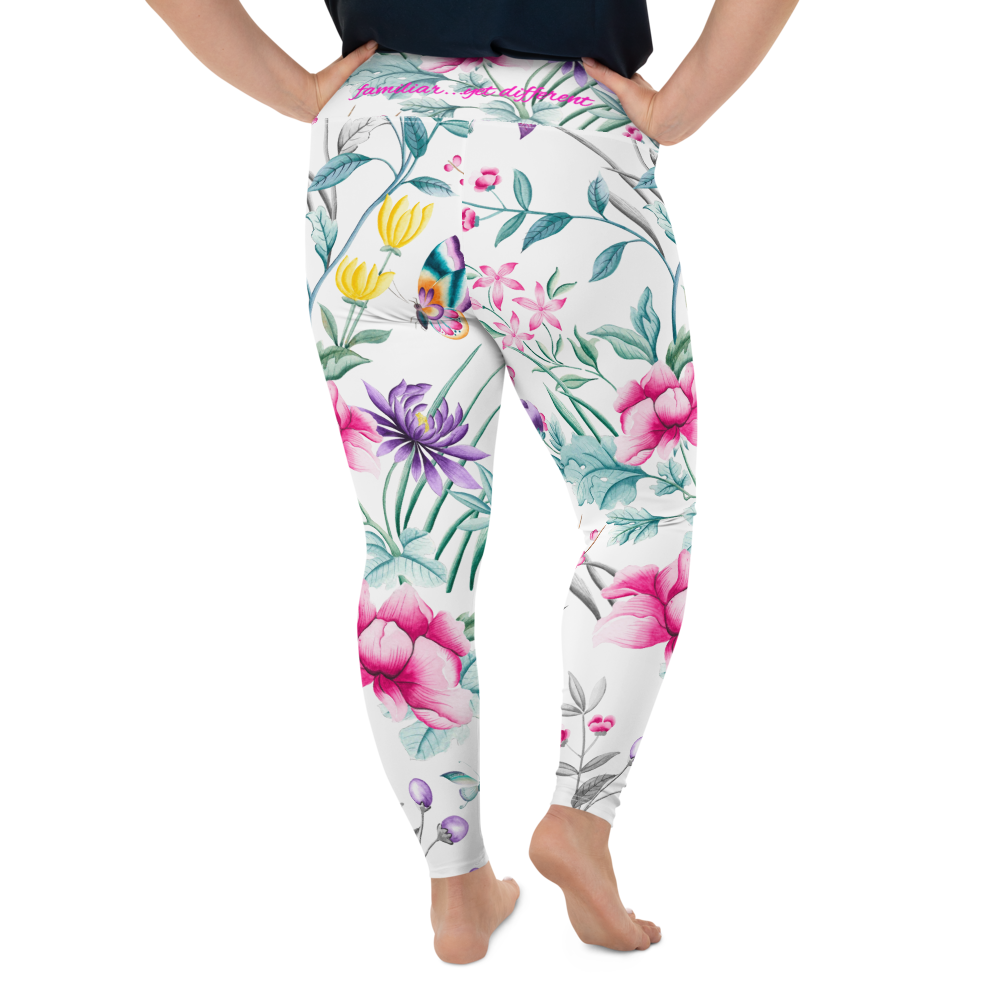 white floral chinoiserie print plus size leggings