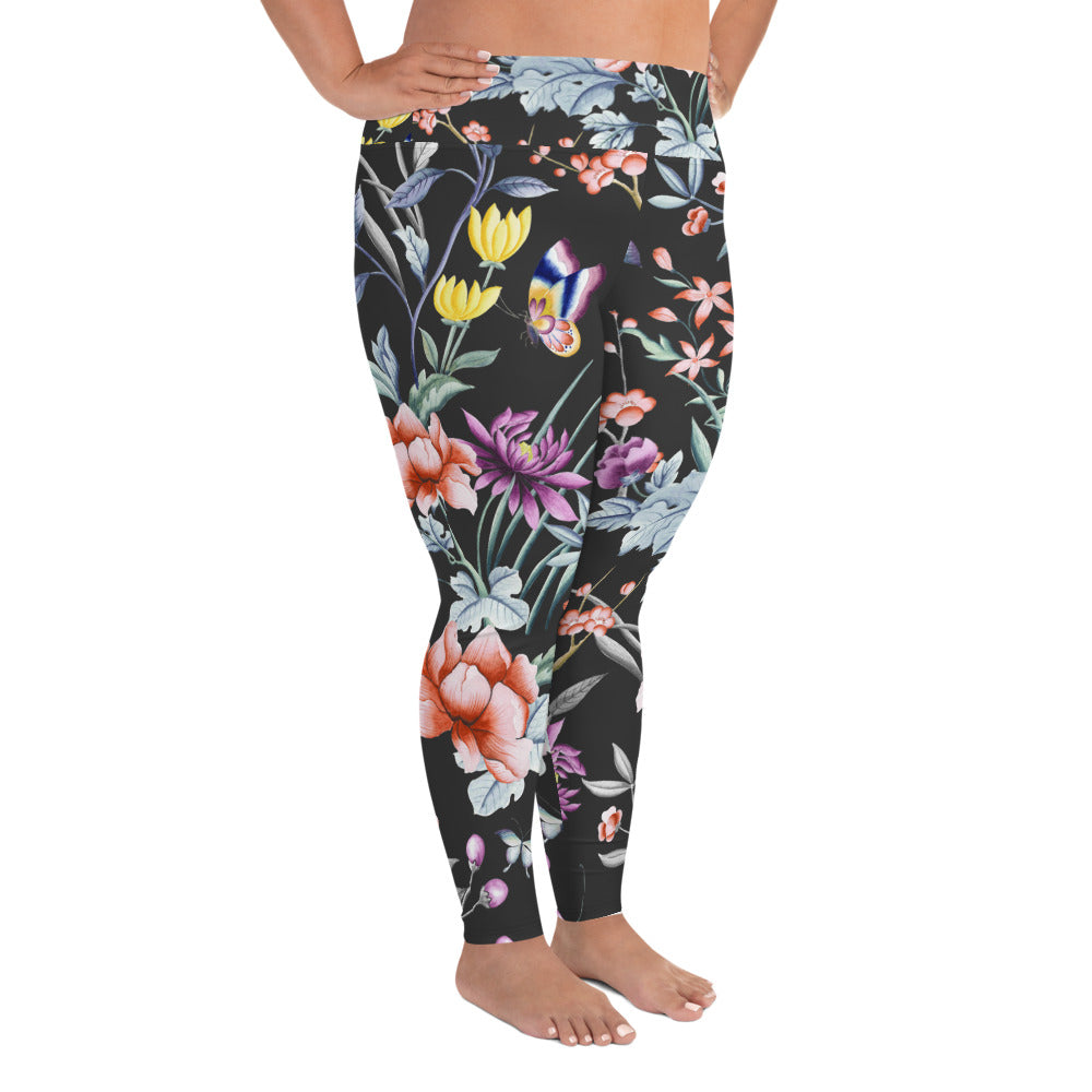 Plus Size Yoga Pants in black chinoiserie