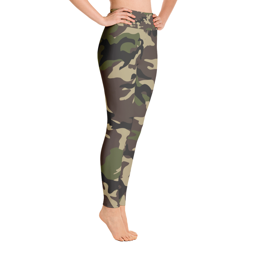 brunette fit model wearing army green camouflage print leggings yoga pants